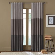 Sirocco Rod Pocket/Back Tab Window Curtain Panels - Bed Bath & Beyond living room maybe? Home Curtains, Window Curtains, Curtain Panels, Color Block Curtains, Curtain Designs, Window Coverings, Window Treatments, Home Decor Kitchen, Home Decor Items