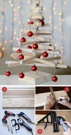 Scandinavian Wooden Tabletop Christmas Tree | Click for 30 DIY Christmas Table Centerpiece Ideas | DIY Christmas Table Decoration Ideas