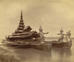 [King Thibaw's state barge moored on the Irawaddy at Mandalay.] (1895 by Klier, Philip Adolphe)