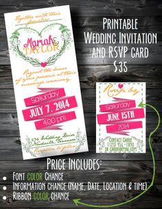 Printable Wedding Invite and RSVP card $35