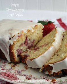 Lemon Strawberry Loaf Cake-tangy and sweet combine to create a delightfully refreshing cake!