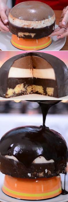 CÓMO HACER BOMBA DE TRES CHOCOLATES | SIN HORNO | #treschocolates #flan #receta #recipe #casero #torta #tartas #pastel #nestlecocina #bizcocho #bizcochuelo #tasty #cocina #chocolate #queso Si te gusta dinos HOLA y dale a Me Gusta MIREN …