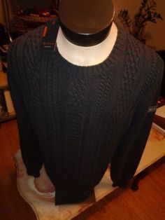 GEX- $119 NEW BEN SHERMAN MENS CABLE SWEATER  SZ - LARGE