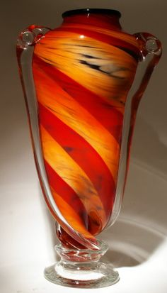 Art glass vase - shocking red and yellow at Kela's gallery.