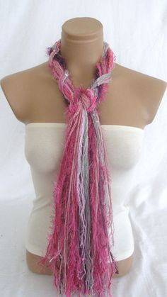 Fringe Scarf Knotted Scarf from Arzus on Etsy. Shop more products from Arzus on Etsy on Wanelo. Braided Scarf, Scarf Knots, Fringe Scarf, No Sew Scarf, Diy Fashion, Scarves, Braids, Ribbon, Sewing