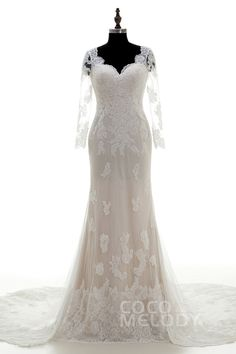 Romantic V-Neck Chapel Train Lace Ivory/Champagne Long Sleeve Wedding Dress with Appliques LWKF15003