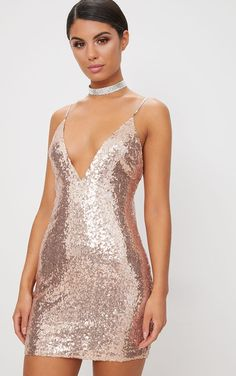 3f3e6a4a Rose Gold Chain Strap Sequin Plunge Bodycon Dress. Rose Gold ChainGold  ChainsWedding Dresses For GirlsProm DressesShort ...