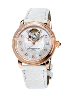 Frederique Constant Heart Beat Mother of Pearl Diamond Dial Ladies Watch Swiss Self-winding Movement with 26 Jewels. White Genuine Leather Strap with Deployment Clasp. Gold Heart Bracelet, Heart Jewelry, Silver Jewelry, Bracelet Cuir, Bracelet Watch, Seiko, Rose Gold Watches, White Watches, Diamond Watches