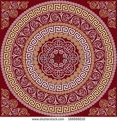 vector set Traditional vintage golden square and round Greek ornament Meander and floral pattern on a red background Mandala Drawing, Mandala Art, Tile Patterns, Textures Patterns, Greek Pattern, Glass Printing, Circle Art, Red Background, Chinese Art