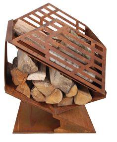 Esschert, Stufa da esterni con scomparto per legna da ardere S, FF143