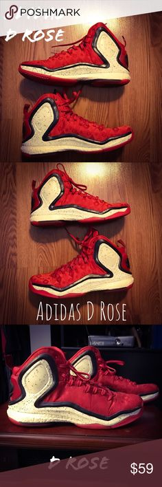 Adidas D Rose sneakers. These are gently worn. With minimal wear and tear. Very slight heel drag.  And BOOST technology. For under $75 dollars you can get a fantastic shoe with excellent lock down, traction, cushioning, fit and containment. They are are extremely durable too. They just need a loving home. adidas Shoes Sneakers