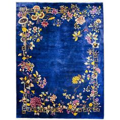 Chinese Art Deco Indigo Floral Rug - × - Image 1 of 4 All Modern Furniture, Chinese Furniture, Industrial Furniture, Classic Furniture, Asian Rugs, Art Deco Rugs, Border Rugs, Carpet Trends, Floral Rug