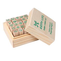Cheap stamp, Buy Quality stamp set directly from China diaries vampire Suppliers:   #Cu3 25pcs Happy Life Diary Stamp Set DIY Rubber Wooden Stamp with Wooden Box                  Bra
