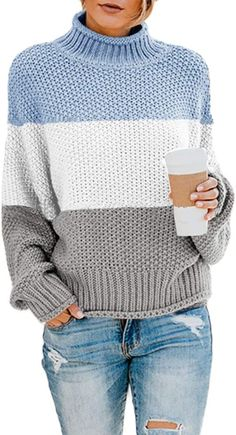 Shop the latest collection of Rainlin Women Turtleneck Sweater Color Block Long Sleeve Oversized Pullover Loose Chunky Knit Jumper Tops from the most popular stores - all in one place. Blue Sweaters, Pullover Sweaters, Sweaters For Women, Long Sweaters, Knit Sweaters, Knit Jumpers, Warm Sweaters, Oversized Pullover, Oversized Sweaters