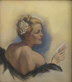 A Blonde with a Flower in Her Hair, circa 1940   by Almacén de cosas que me gustan