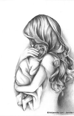 Mother Angel Holding Child Tattoo Design photo - 2