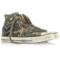 Converse Limited Edition Shoes Chuck Taylor All Star High Military... ($135) ❤ liked on Polyvore featuring shoes, sneakers, unisex shoes, studs shoes, rubber sole shoes, lace up shoes and converse shoes
