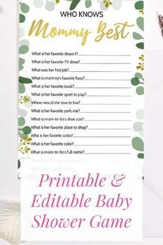 Most Popular Baby Shower Games, The Best Baby Shower Games Baby Shower Games Unique, Fun Christmas Games, Who Knows Mommy Best, Good Music, Babyshower, Printable, Popular, Etsy, Baby Shower