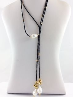 Black Spinel Long Lariat Necklace with Gold Coated Pyrites and Baroque Pearls Pearl Jewelry, Bridal Jewelry, Fine Jewelry, Jewelry Making, Jewelry Sets, Jewlery, Blue Moonstone, Diamond Solitaire Necklace, Diamond Necklaces