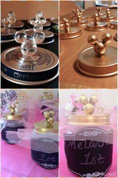 Minnie favors. Birthday. DIY. Baby food jars. Gold. Pink. Tutu. Chalkboard stickers
