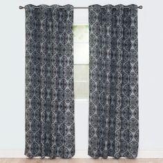 Lavish Home Dana Flocked Curtain Panel