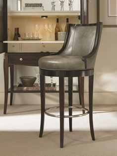 """Century Taylor counter stool 3800C-6. Choice of finish, fabric, leather. Memory swivel standard. 20.75""""WX24""""DX37.5""""H. Seat height 24.5, arm height 25""""."""