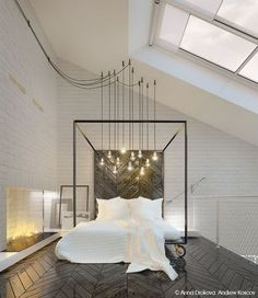 Hoher Dachschräge Dieses Zwei Personen Schlafzimmer Verfügt über  Oberlichter Und Industrielle Lichter (schlichte Glühbirnen)