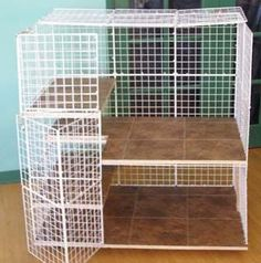 """The flooring I would change, but I love the concept. """"Rabbit condos are so much better for your pet bunny then a pet store cage! Diy Bunny Cage, Bunny Cages, Rabbit Cages, Rabbit Life, House Rabbit, Pet Rabbit, Cavy Cage, Pet Cage, Ferret Cage"""