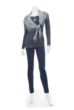 Type 2 Effortless Style Outfit - Navy Dust tee and Vintage Lace Scarf in Grey