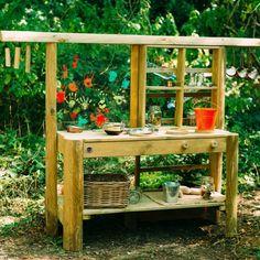 Mud Pie Kitchen, Mud Kitchen For Kids, Play Kitchen Sets, Wooden Kitchen, Kitchen Ideas, Bamboo Wind Chimes, Outdoor Classroom, Garden Toys, Outdoor Play