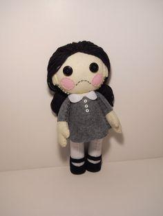 Felt little sad goth girl plush stuffed rag by SouthernGothica, $45.00