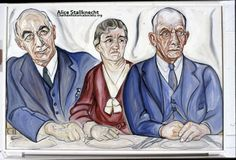 """From the Alice Stallknecht mural """"The Circle Supper"""" Color photo of oil portrait. Pictured from left to right: Oscar C. Nickerson, Hattie Nickerson, Rufas A. Nickerson, Chatham, MA. #alicestallknecht, #chatham, #chathamhistoricalsociety, #capecod, #muralbarn, #mural"""
