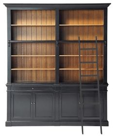 Versailles Bookcase - traditional - bookcases cabinets and computer armoires - Maisons du Monde - this would be incredible! Eclectic Bookcases, Classic Bookshelves, Versailles, Black Bookcase, Built In Bookcase, Bookshelf Door, Bookshelf Plans, Home Office, Traditional Bookcases