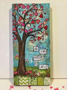 valentine's day, tree, heart tree, mixed media valentines day, misd media hearts