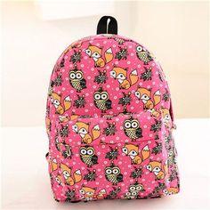 2016 women backpack for girls backpacks Fashion Students Travel Shoulder School Bags for Girls backpack Fox Owl canvas backpack