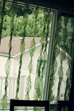 Scene Setting: hang green strips to a curtain rod and a funky underwater scene was set.