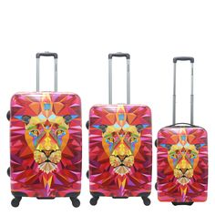 #Kofferset Saxoline Jungle Lion bei Koffermarkt: ✓Motiv mit Löwenkopf  ✓3-teilig: klein, mittel, groß ✓ABS-Polycarbonat-Hartschale