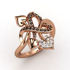 Tattooed with Love Ring  14K Rose Gold Ring with White Sapphire & Black Diamond $1380