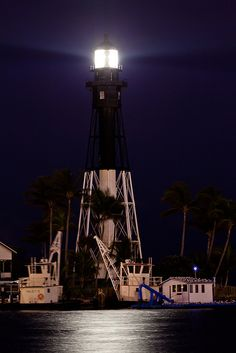 Hillsboro Inlet Lighthouse at Night by myn91, via Flickr