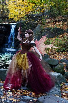 Love those wings and the corset with attached arm loops. Not crazy about the tulle/organza skirt.  Fall Fairy on Waterfall by Anna Fischer, via Flickr