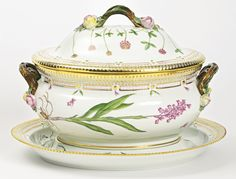A ROYAL COPENHAGEN 'FLORA DANICA' LARGE OVAL TUREEN, COVER AND STAND MODERN standard printed and painted factory marks and shape numbers 20 3560 and 20 3561.