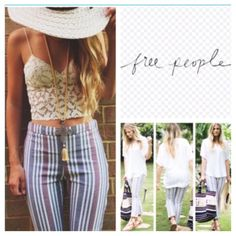"Free People Striped Cropped Pants Cropped and streamlined, Free People's striped pants put a sleek slant on everything from a simple white tee to flirty eyelet tops. Banded waist, concealed side zip closure, striped, cropped straight leg silhouette 55% linen/42% Cotton/3% spandex Hand wash  Approx waist 17"",  Inseam 26"".  /////NWOT/////. (1) Free People Pants Ankle & Cropped"