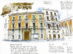 Urban sketchers show the world, one drawing at a time. Building Illustration, Illustration Art, Illustrations, Rda, Ink In Water, Sketching Tips, Thing 1, Sketch Inspiration, Urban Sketchers