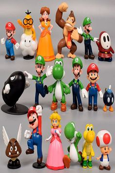 Action & Toy Figures 8~15cm Super Mario Bowser Koopa Yoshi Mario Luigi Donkey Kong Ghost Peach Mushroom Mario Maker Action Pvc Figures Toys Gifts Neither Too Hard Nor Too Soft