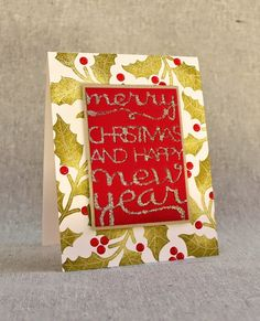 Holly Christmas Card by Lizzie Jones for Papertrey Ink (September 2014)
