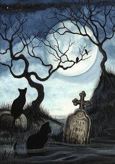 Black Cat Society - Quiet Night Under Full Moon - ArT Prints by BiHrLe - Ipuçları - Halloween Halloween Artwork, Halloween Painting, Halloween Drawings, Halloween Pictures, Samhain Halloween, Halloween Horror, Halloween Cat, Vintage Halloween, Desenhos Halloween