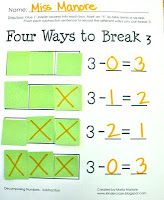 Subtract to Decompose Numbers in Kindergarten! Great activity for Common Core K.OA.3. Perfect for a math center!