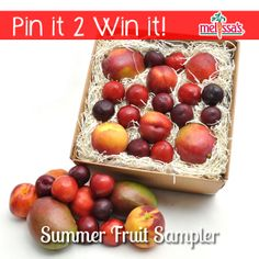 June 2014 - Pinterest Giveaway --  ...is Melissa's Summer Fruit Sampler features the most delectable, mouth-watering seasonal fruits. Depending on availability, this package includes varieties of: Peaches, Plums, Nectarines, Plumcots, Mango, and Apriums. Our Stonefruit box is 4.5 lbs. of freshly picked fruit all safely and beautifully packed, making it an ideal summer gift for any fruit-lover.