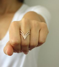 14K Solid Gold Double V Shaped Ring ~ Double V Ring ~ Thin Gold Ring ~  Curved Double Vogue V ring ~ Valentine's Day Gift