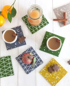 Patterned coasters - Cotton & Flax